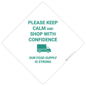 Keep Calm And Shop With Confidence Our Food Supply Is Strong - Placard Sign