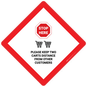 Stop Here: Please Keep 2 Carts Distance From Other Customers - Placard Sign
