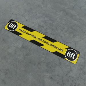 Please Wait Here / Por Favor Espere Aqui - 6Ft - Social Distancing Strip