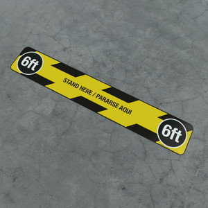 Stand Here / Pararse Aqui - 6Ft - Social Distancing Strip