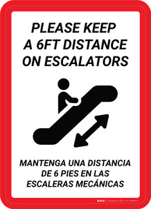 Please Keep a 6Ft Distance on Escalators Bilingual Portrait - Wall Sign