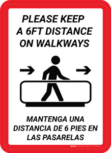Please Keep a 6ft Distance on Walkways Bilingual Portrait - Wall Sign