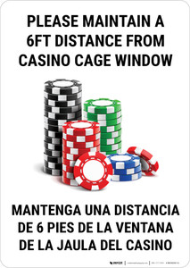 Please Maintain a 6ft Distance from Casino Cage Window Bilingual Portrait with Emoji - Wall Sign