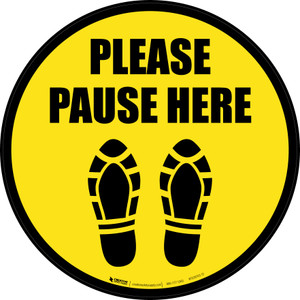 Please Pause Here Shoe Prints Black Border Circular - Floor Sign