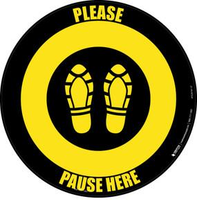 Please Pause Here Shoe Prints Black/Yellow Circular - Floor Sign