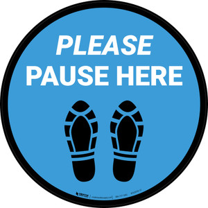Please Pause Here Shoe Prints Blue Circular - Floor Sign
