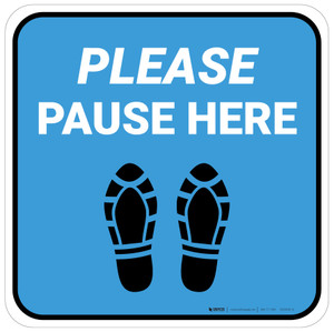 Please Pause Here Shoe Prints Blue Square - Floor Sign