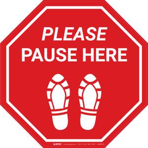 Please Pause Here Shoe Prints Stop - Floor Sign