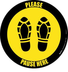 Please Pause Here Shoe Prints Yellow Black Border Circular - Floor Sign