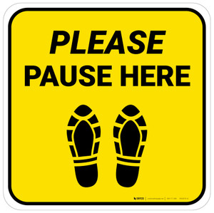 Please Pause Here Shoe Prints Yellow Square - Floor Sign