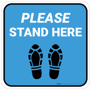 Please Stand Here Blue Shoe Prints Square - Floor Sign