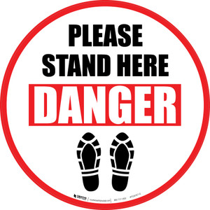 Please Stand Here Danger Shoe Prints Circular - Floor Sign