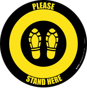 Please Stand Here Shoe Prints Black/Yellow Circular - Floor Sign
