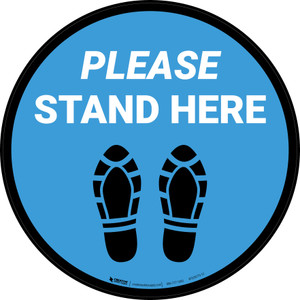 Please Stand Here Shoe Prints Blue Circular - Floor Sign