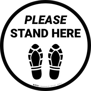 Please Stand Here Shoe Prints Circular - Floor Sign