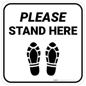 Please Stand Here Shoe Prints Square - Floor Sign