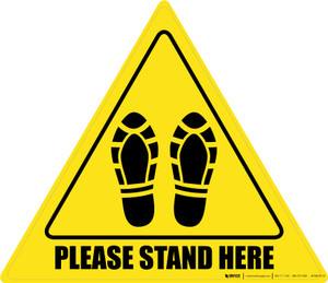 Please Stand Here Shoe Prints Triangle - Floor Sign