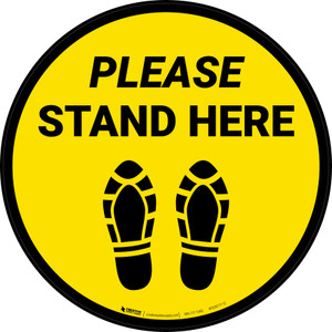 Please Stand Here Shoe Prints Yellow Circular - Floor Sign