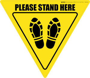 Please Stand Here Shoe Prints Yield - Floor Sign