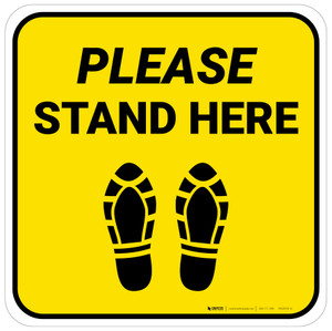 Please Stand Here Yellow Shoe Prints Square - Floor Sign