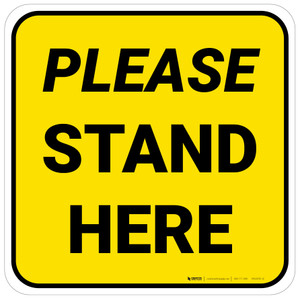 Please Stand Here Yellow Square - Floor Sign