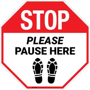 STOP Please Pause Here Shoe Prints Stop - Floor Sign