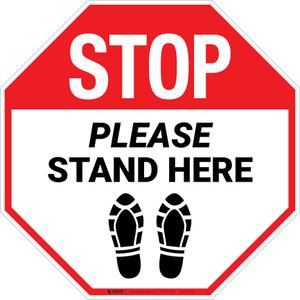 STOP Please Stand Here Shoe Prints Stop - Floor Sign