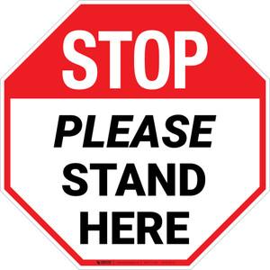 STOP Please Stand Here Stop - Floor Sign