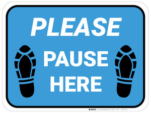 Please Pause Here Shoe Prints Blue Rectangle - Floor Sign
