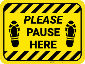 Please Pause Here Shoe Prints Hazard Stripes Rectangle - Floor Sign