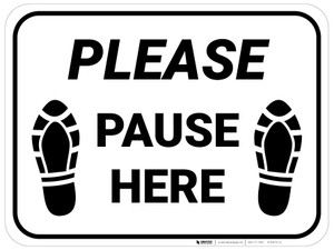 Please Pause Here Shoe Prints Rectangle - Floor Sign