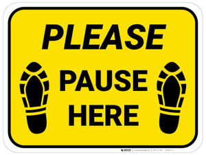 Please Pause Here Shoe Prints Yellow Rectangle - Floor Sign