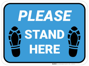 Please Stand Here Shoe Prints Blue Rectangle - Floor Sign