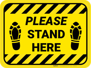 Please Stand Here Shoe Prints Hazard Stripes Rectangle - Floor Sign