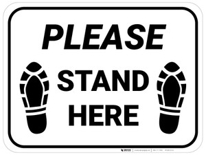 Please Stand Here Shoe Prints Rectangle - Floor Sign