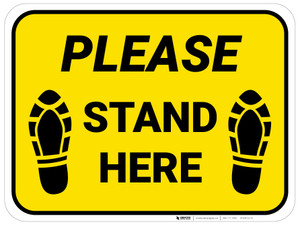 Please Stand Here Yellow Shoe Prints Rectangle - Floor Sign