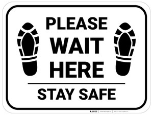 Please Wait Here Stay Safe Shoe Prints Rectangle - Floor Sign