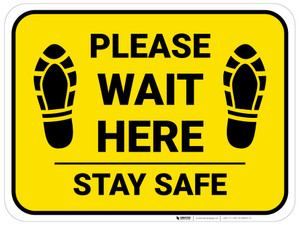 Please Wait Here Stay Safe Shoe Prints Yellow Rectangle - Floor Sign
