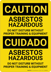Caution: Asbestos Hazardous Bilingual (Spanish) - Wall Sign