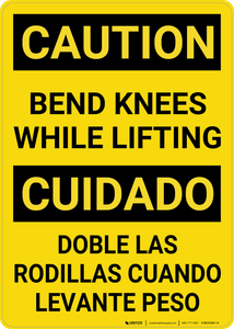 Caution: Bend Knees Lifting Bilingual (Spanish) - Wall Sign