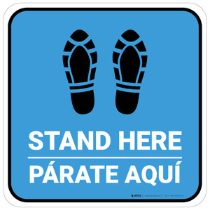 Stand Here Parate Aqui Shoe Prints Bilingual Blue Square - Floor Sign