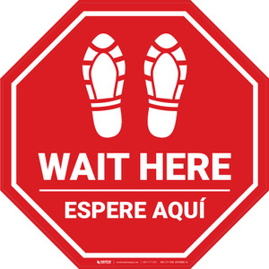 Wait Here Espere Aqui Shoe Prints Bilingual Stop - Floor Sign