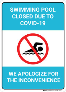Swimming Pool Closed Due to COVID-19 - We Apologize - Wall Sign