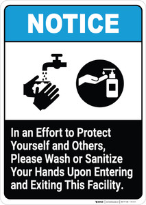 Please Wash or Sanitize Your Hands Upon Entering and Exiting This Facility - Wall Sign