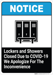 Lockers and Showers Closed Due to COVID-19 - We Apologize - Wall Sign