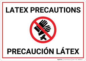Caution: Latex Precaution Bilingual (Spanish) - Wall Sign