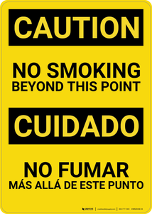 Caution: No Smoking Bilingual (Spanish) - Wall Sign