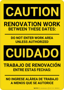 Caution: Renovation Work Bilingual (Spanish) - Wall Sign