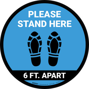 Please Stand Here 6 Ft. Apart Shoe Prints Blue Circular - Floor Sign
