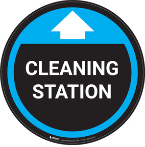 Cleaning Station With Arrow Blue - Circular - Floor Sign